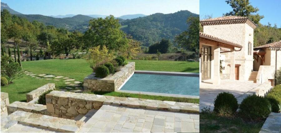 piscine jardin et jeu de pierre