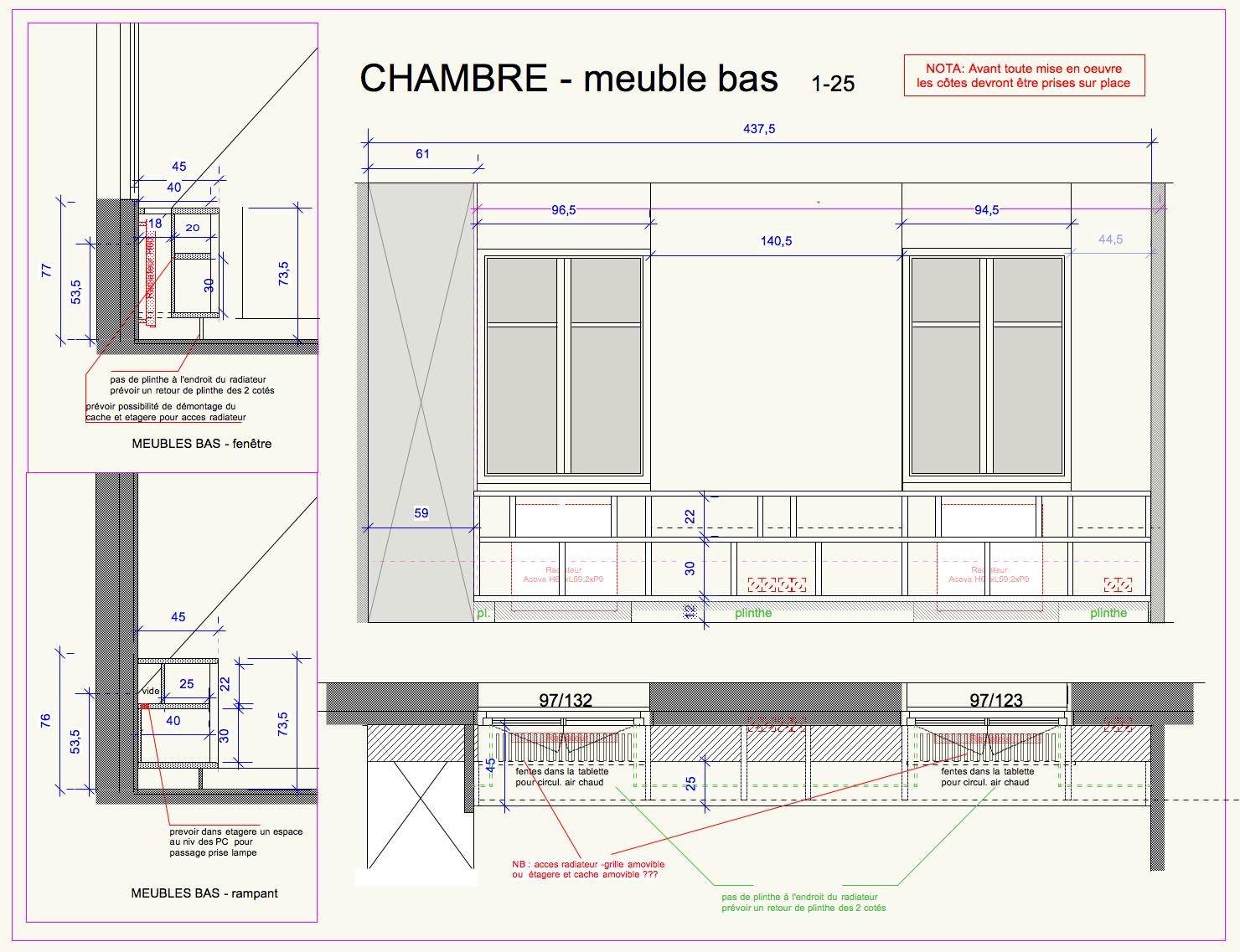 projet et detail de mobilier integré